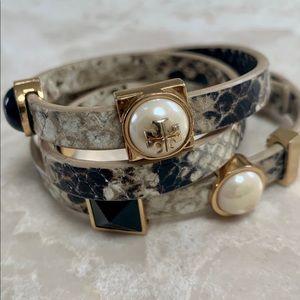 Tory Burch Snakeskin Wraparound Bracelet